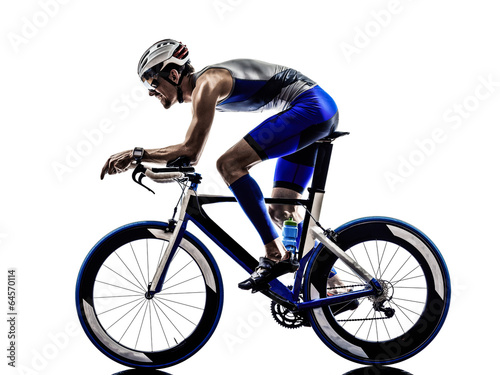 man triathlon iron man athlete cyclists bicycling - 64570114