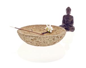 Buddha Schale Blüte Räucherstäbchen
