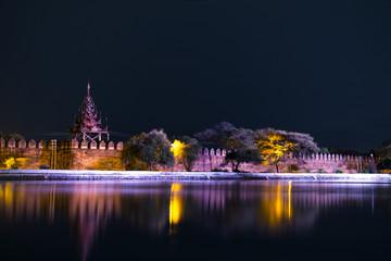 Mandalay Palace Bastion at Night.