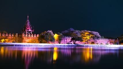 Bastion of Mandalay Palace at Night.
