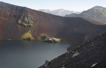 Iceland. South area. Fjallabak. Ljotipollur crater. Volcanic lan