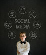 Thinking boy business man with social media icons