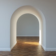 Beautiful home entrance with wood floor. interior with arch.