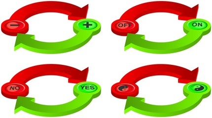 Contradictory green and red spatial arrows with symbols