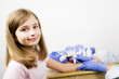 Allergy - skin prick tests, cute girl in a laboratory