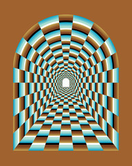 Abstract illusion of tunnel effect abstract.