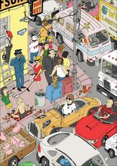 Cartoon City Traffic Scene