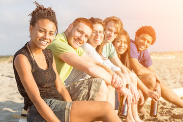 Multiracial Group of Friends at Beach