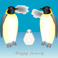Happy family of Emperor Penguin.