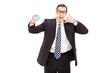 Businessman holding a blank blue card