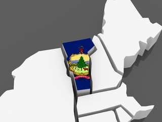 Three-dimensional map of Vermont. USA.