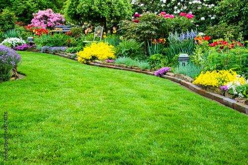 Rasenfläche mit Garten im Hintergrund - 64574176