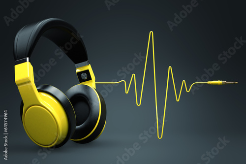 Leinwanddruck Bild Wave impulse headphones concept.