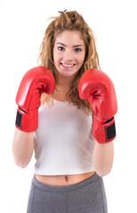 Girl exercise kickboxing in studio