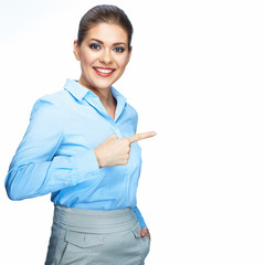 Business woman white background finger showing.