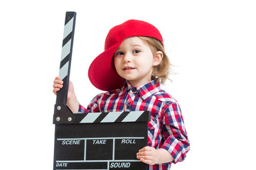 Kid girl holding clapper board in hands isolated