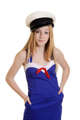 teen girl wearing sailor suit fashion