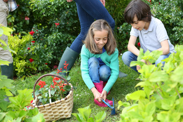 Kids gardening at home together in springtime
