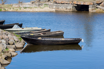 Old fishermans boats in the harbor