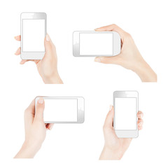 Female hands holding smartphone in different ways