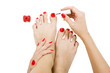 pedicure process - red manicure and pedicure, isolated
