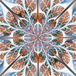 Symmetrical pattern of the leaves in blue and brown. Collection