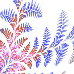 Asymmetrical pattern of the leaves in blue and brown. On white b
