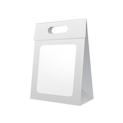 Paper Bag Package Folded With Label, Close, Grayscale