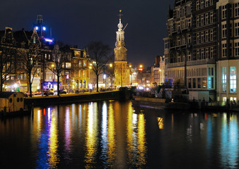 Evening view on the Munttoren (Coin Tower) in Amsterdam