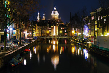 Evening view on the St. Nicolas Church in Amsterdam