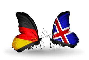 Two butterflies with flags Germany and Iceland