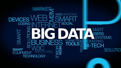 Big data marketing word tag cloud animation video