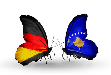 Two butterflies with flags Germany and Kosovo