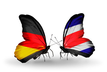 Two butterflies with flags Germany and Costa Rica