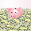 Piggybank in heap of money