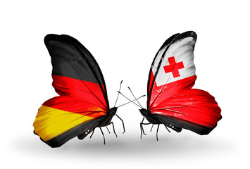 Two butterflies with flags  Germany and Tonga