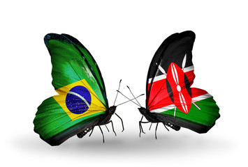 Two butterflies with flags Brazil and Kenya