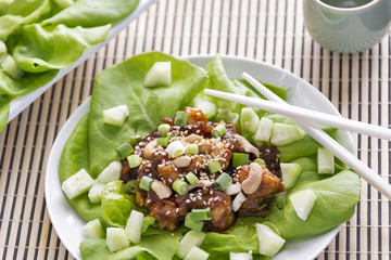 Hoisin lobster lettuce wraps