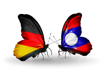 Two butterflies with flags Germany and Laos