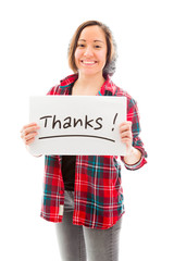 Young woman showing thanks sign on white background