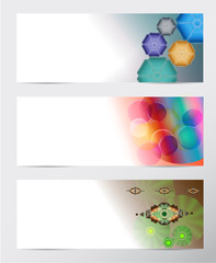 Set of paper banners with abstract background