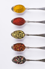 Ingredients spices in spoons isolated on white background