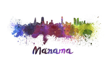 Manama skyline in watercolor