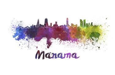 Manama skyline in watercolor