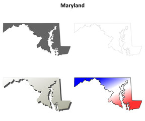 Maryland blank outline map set
