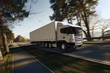 Truck on the road. 3D render on photographic background.