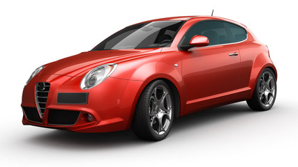 3d rendering of a red sport car in studio environemnt