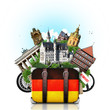 canvas print picture - Germany, german landmarks, travel and retro suitcase