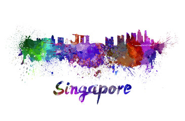 Singapore skyline in watercolor