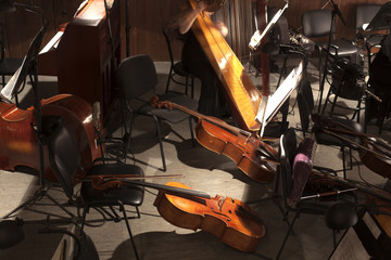 musical instruments in the orchestra pit